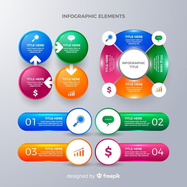 Élément infographique collectio Vecteur gratuit