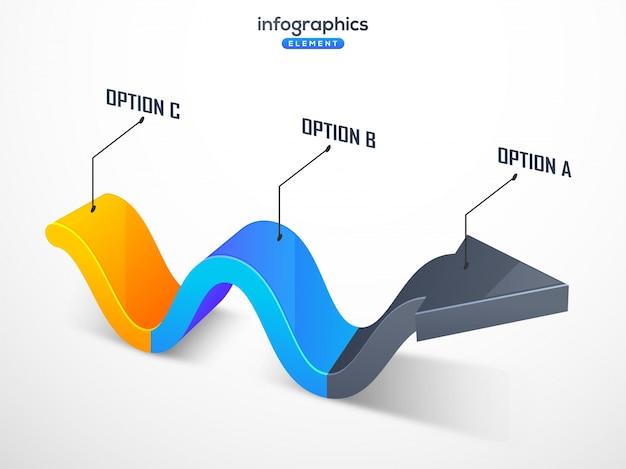 Élément infographique, flèche 3d avec trois (3) étapes. Vecteur Premium