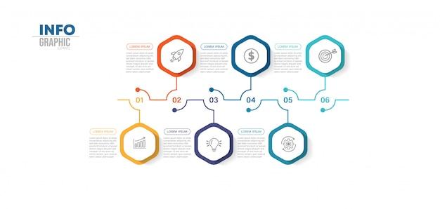 Élément infographique avec icônes et 6 options ou étapes. Vecteur Premium
