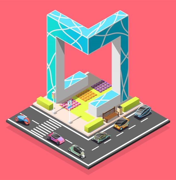 Élément isométrique du constructeur de la ville Vecteur gratuit