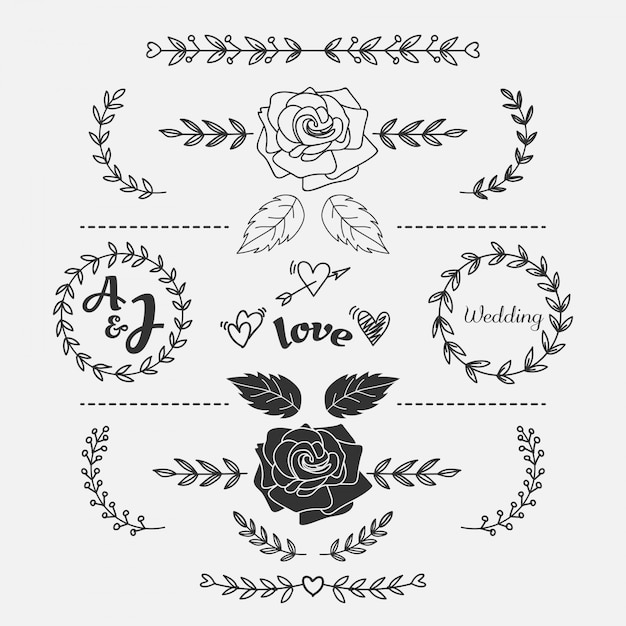Élément de mariage floral dessiné à la main Vecteur Premium