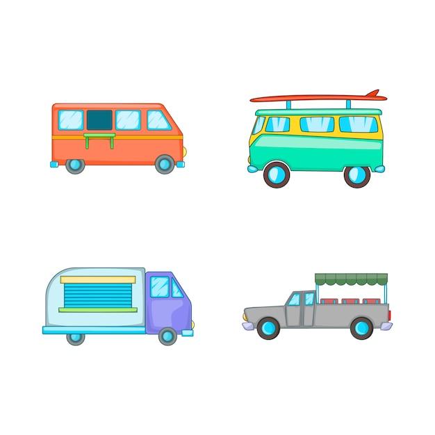 Élément de minivan. ensemble de dessin animé d'éléments de minivan Vecteur Premium