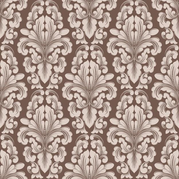 Élément De Modèle Sans Couture Damassé De Vecteur. Ornement Damassé à L'ancienne De Luxe Classique, Style Victorien Royal Vecteur gratuit