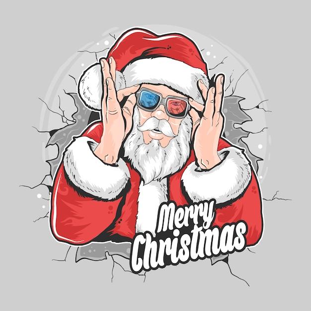 Élément D'œuvre D'art De Noël à Santa Claus Vecteur Premium