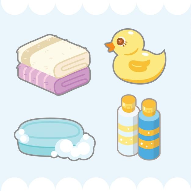 Élément de salle de bain mignon Vecteur Premium