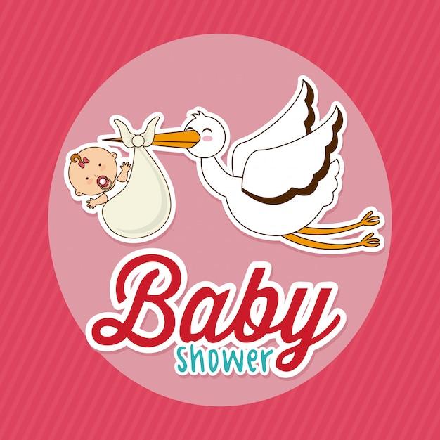 Élément simple de baby shower Vecteur gratuit