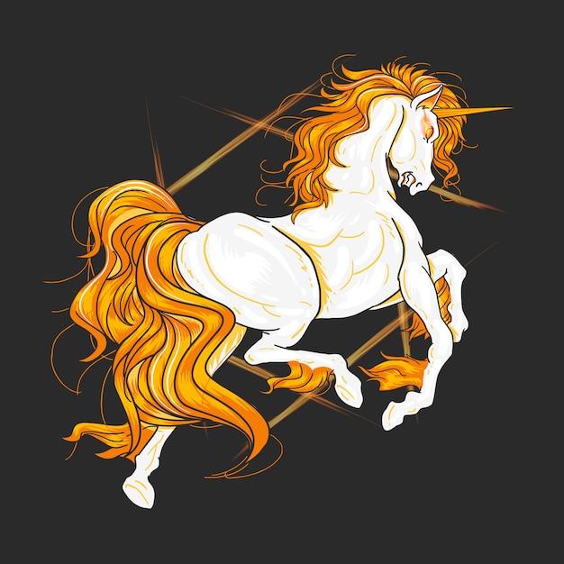 Élément de vecteur orange de feu d'origine unicorn Vecteur Premium