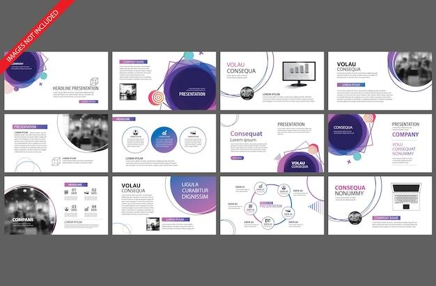 Élément violet pour le modèle de présentation de diapositives. Vecteur Premium