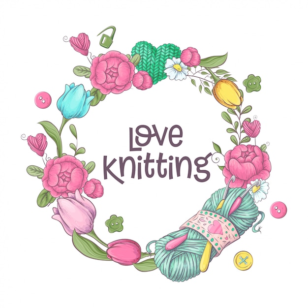 Éléments et accessoires pour le crochet et le tricot. Vecteur Premium