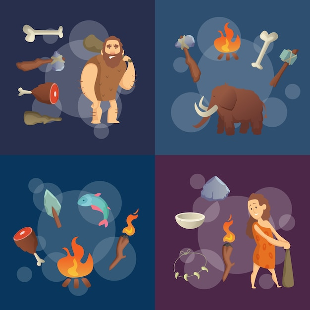 Éléments de l'âge de pierre. illustration de dessin animé hommes des cavernes Vecteur Premium