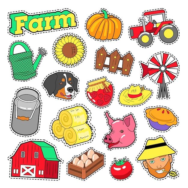 Éléments Agricoles De Ferme Sertie D'agriculteur, De Récolte Et D'animaux Pour Autocollants, Impressions. Doodle De Vecteur Vecteur Premium