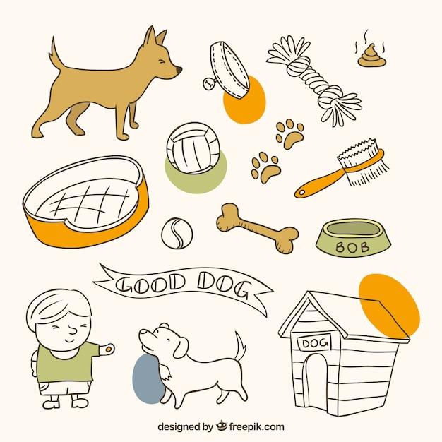 Éléments D'animaux Dessinés à La Main Pour Votre Chien Mignon Vecteur gratuit