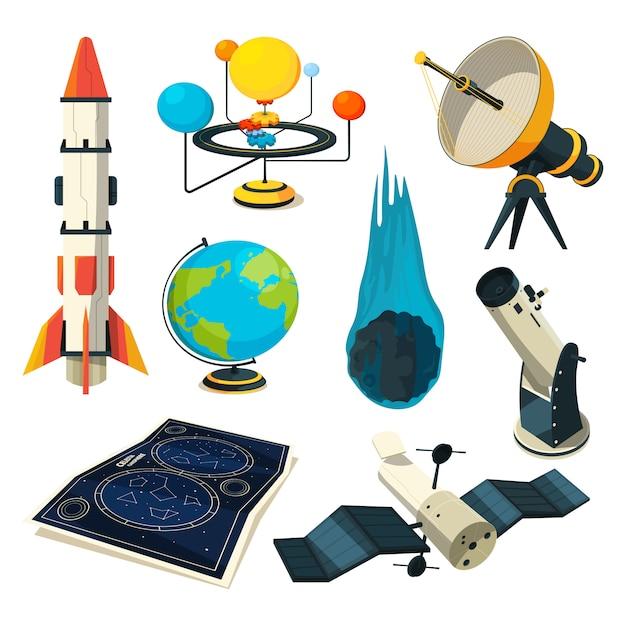 Éléments d'astronomie et images Vecteur Premium