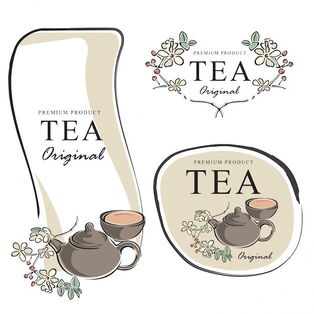 Éléments de bannière de thé dessinés à la main vector illustration Vecteur Premium