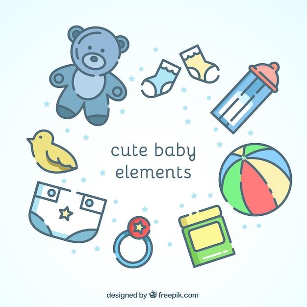 Éléments de bébé mignon en design plat Vecteur gratuit