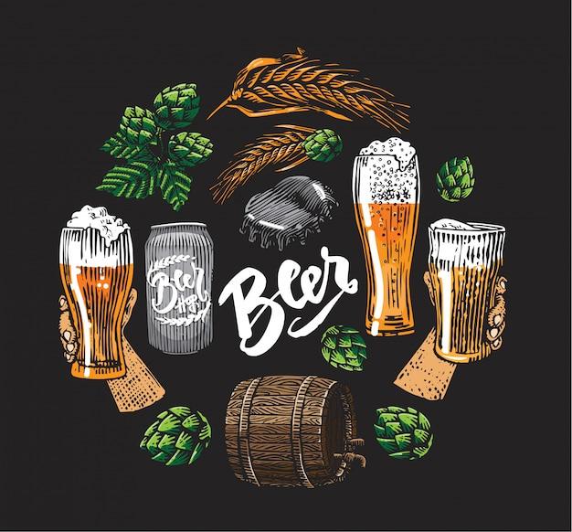 Éléments De Bière Hop En Cercle Vecteur gratuit