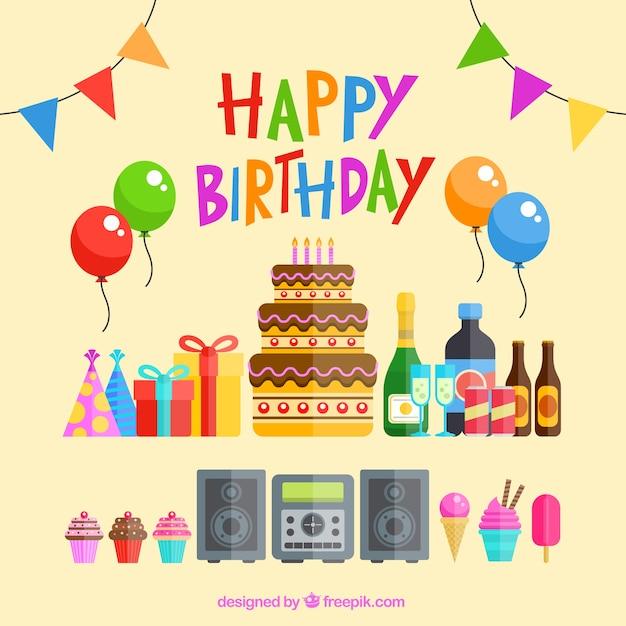 Éléments de birthday party Vecteur gratuit