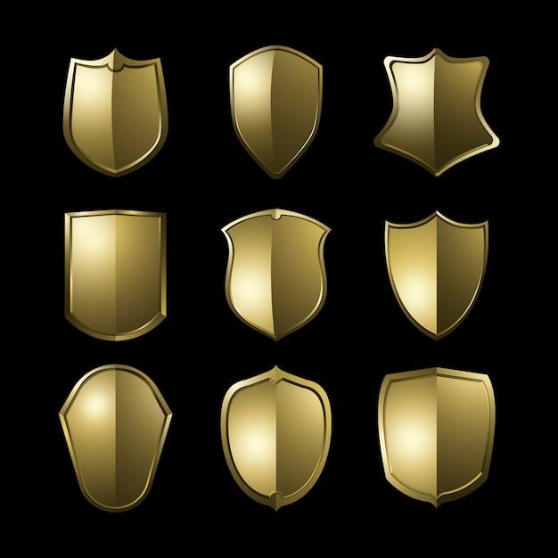 Éléments de bouclier baroque doré vector ensemble Vecteur gratuit