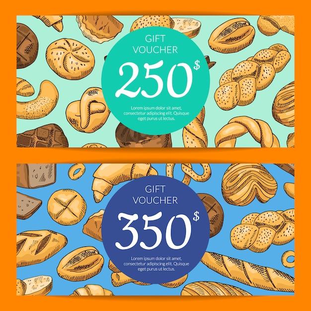 Éléments de boulangerie colorés dessinés à la main Vecteur Premium