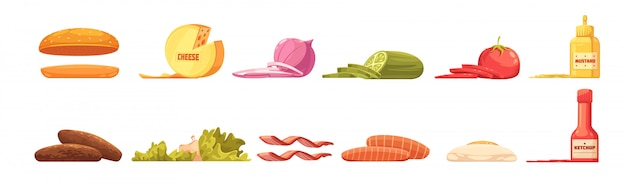 Éléments de burger définis dans un style bande dessinée rétro avec sauce omelette aux légumes à la viande et au fromage Vecteur gratuit