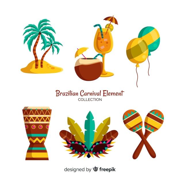 Éléments de carnaval brésilien Vecteur gratuit