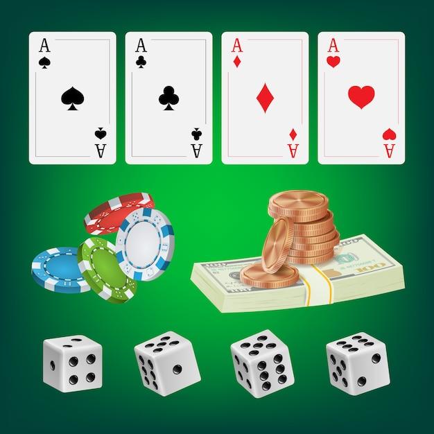 Eléments et cartes de poker design Vecteur Premium