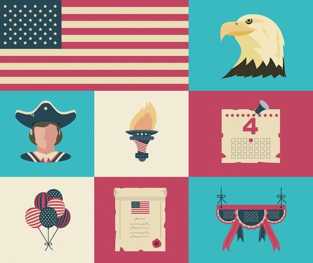 Éléments De Célébration De La Fête De L'indépendance Des états-unis Vecteur Premium