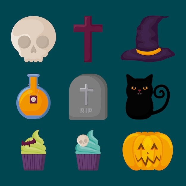 Éléments de célébration d'halloween Vecteur gratuit