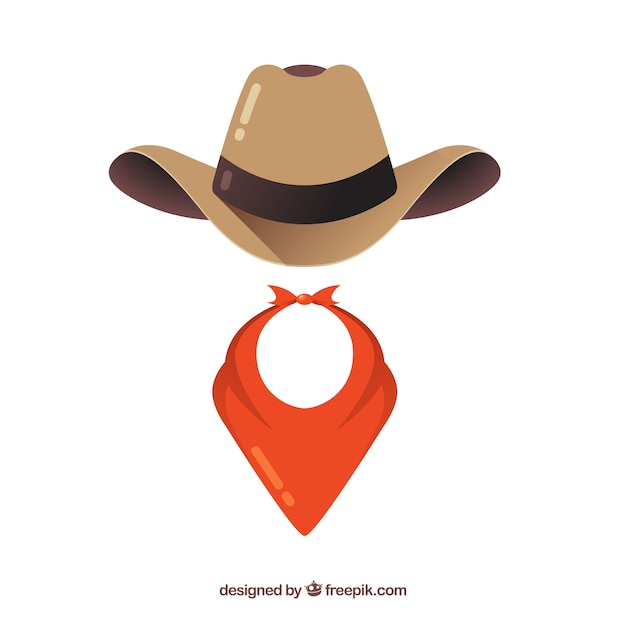 Éléments de chapeau et écharpe de cow-boy Vecteur gratuit