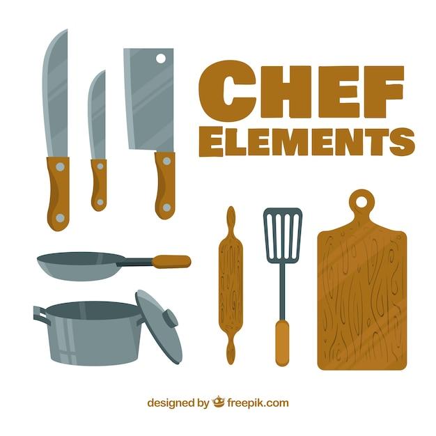 Éléments de chef avec un design plat Vecteur gratuit