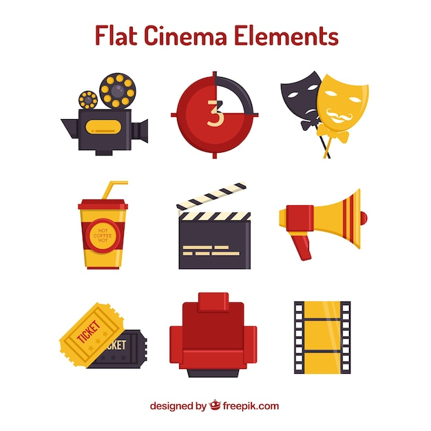 Éléments de cinéma nécessaires dans la conception plate Vecteur gratuit