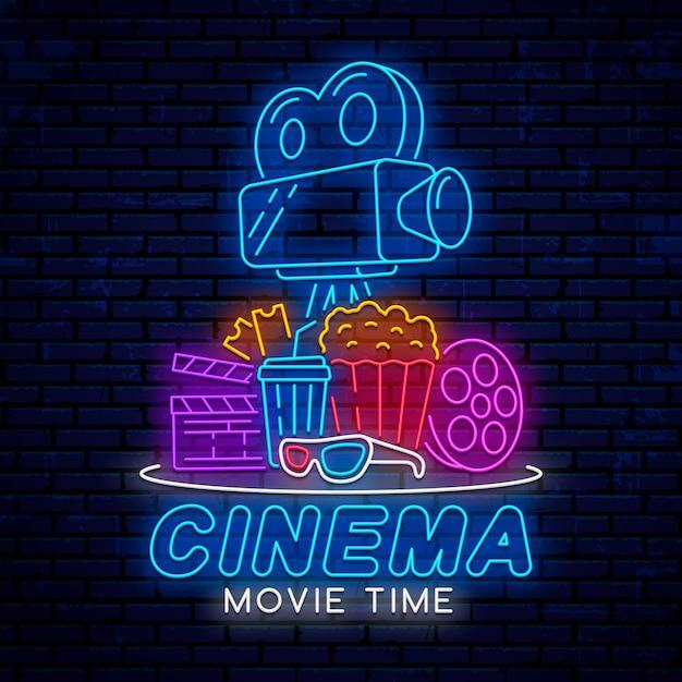 Éléments de cinéma néon Vecteur Premium