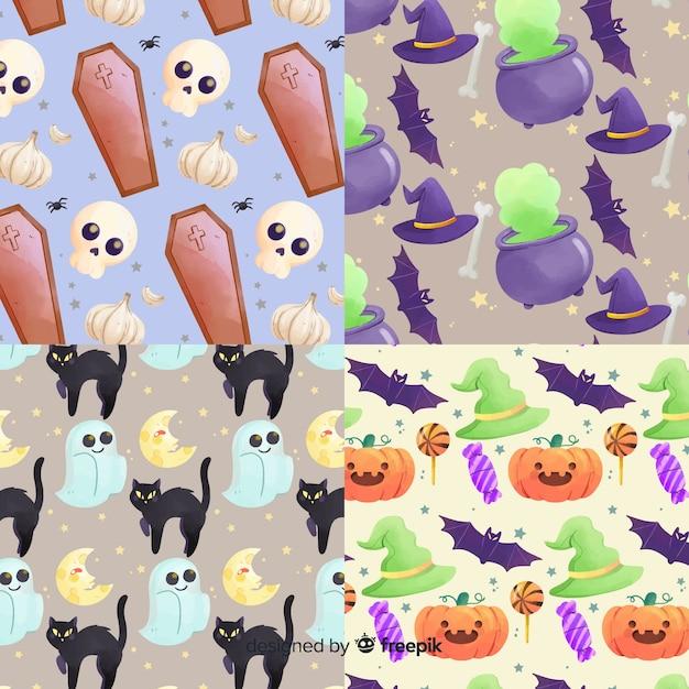 Éléments de la collection de modèles d'aquarelle halloween Vecteur gratuit