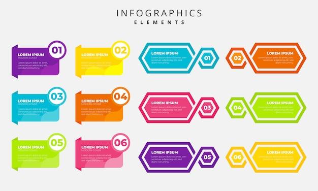 Éléments colorés d'infographie Vecteur Premium