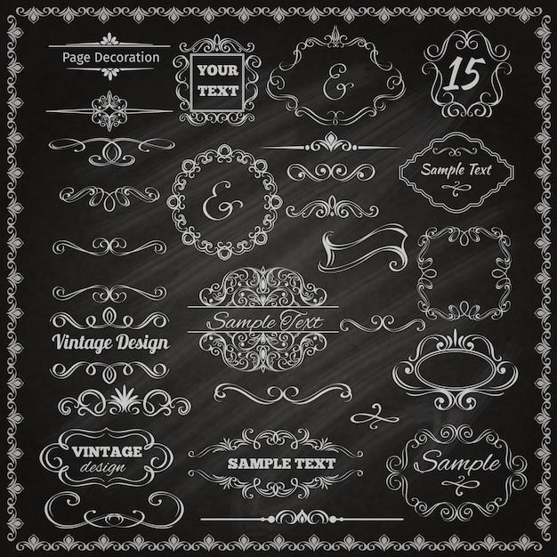Éléments De Conception Calligraphique Vecteur gratuit
