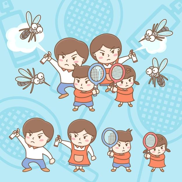 Les éléments De Conception Du Dessin Animé Familial Mignon Se Battent Avec Les Moustiques. Vecteur Premium