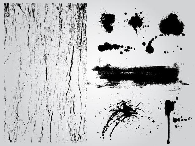 Éléments de conception grunge noir et blanc Vecteur gratuit