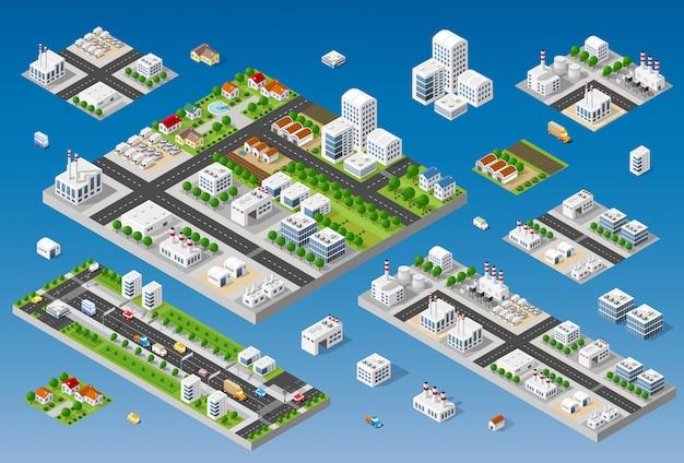 Éléments de conception de paysage urbain Vecteur Premium