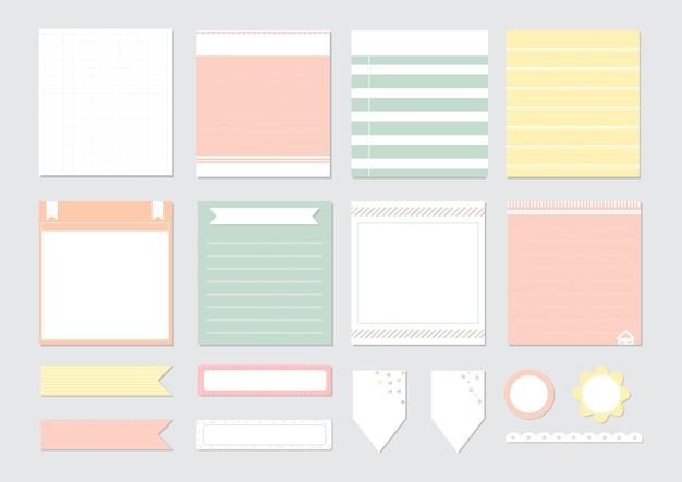 Éléments de conception pour cahier, agenda, autocollants et autres modèles. Vecteur Premium