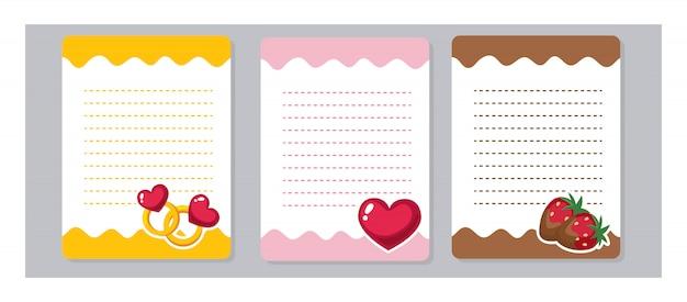 Éléments De Conception Pour Ordinateur Portable, Agenda, Conception De Modèle. Papiers Mignons De Kawaii Et De Bande Dessinée, Prêts Pour Votre Message. Amour, Bague, Coeur, Fraise Au Chocolat. Vecteur Premium