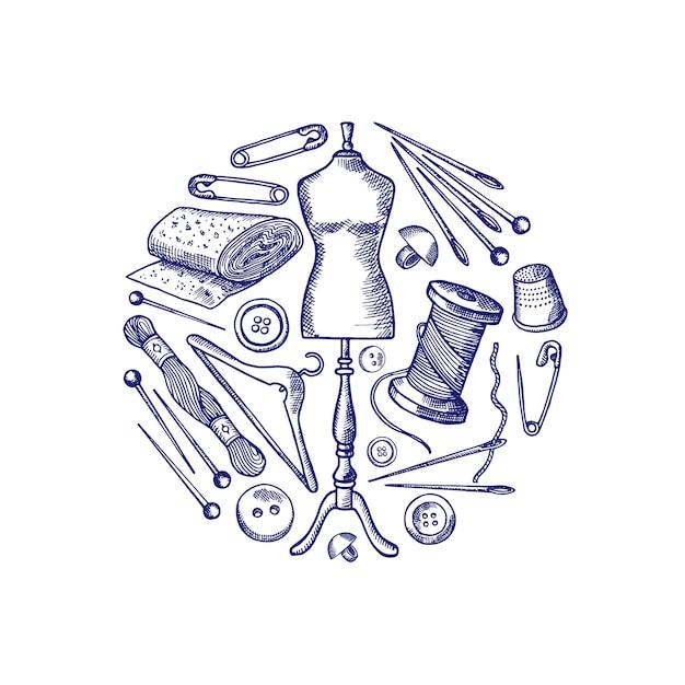 Éléments de couture dessinés à la main se sont réunis dans l'illustration de cercle isolé sur blanc Vecteur Premium