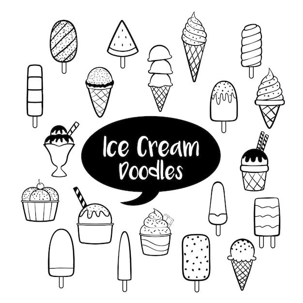 Éléments de crème glacée avec des gribouillis dessinés à la main Vecteur Premium