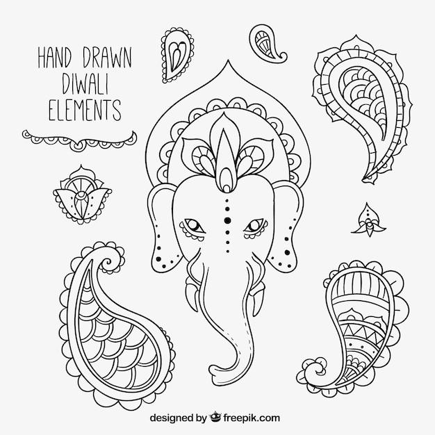 Éléments croquis ensemble de festival de diwali Vecteur gratuit