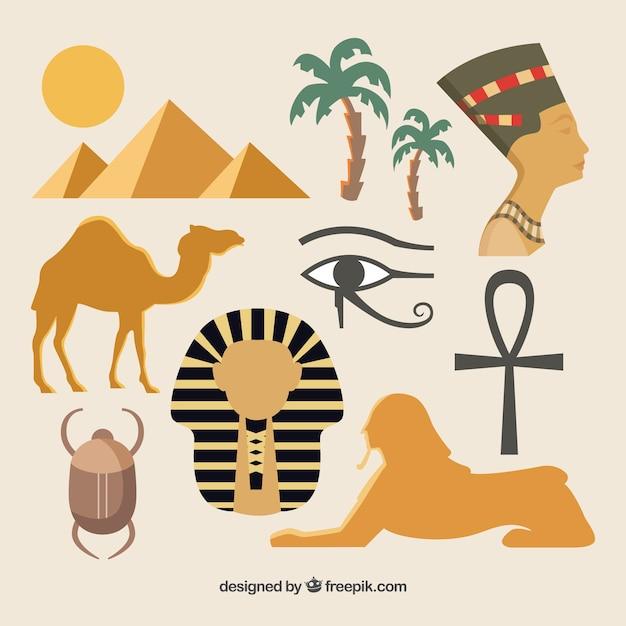 Éléments de la culture égyptienne Vecteur gratuit