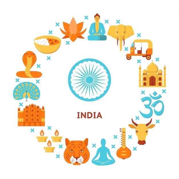 Éléments de culture indienne à composition arrondie Vecteur Premium