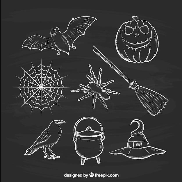 L ments de halloween sketchy sur tableau noir for Ecrire sur un tableau noir