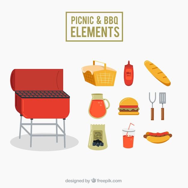 l ments de pique nique et barbecue paquet en design plat. Black Bedroom Furniture Sets. Home Design Ideas