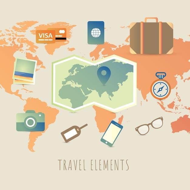 Éléments de voyage avec un design plat Vecteur gratuit