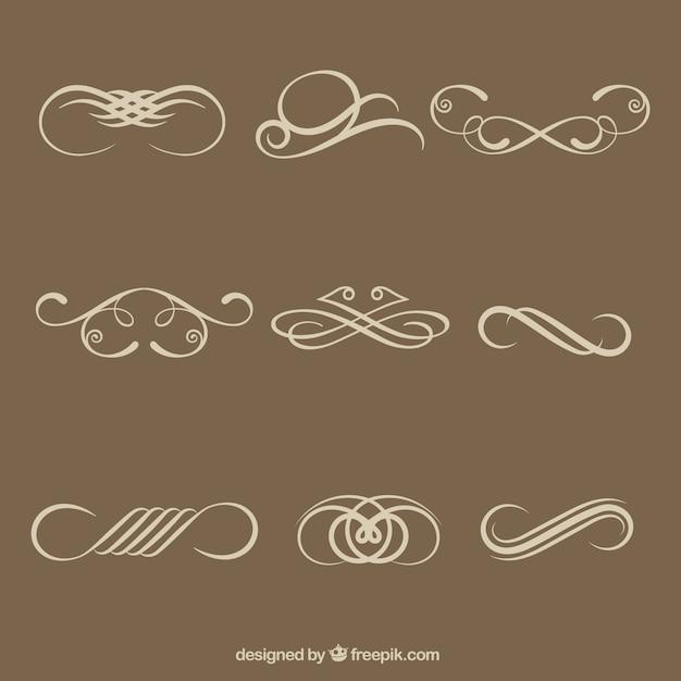 Éléments décoratifs calligraphiques simples Vecteur gratuit