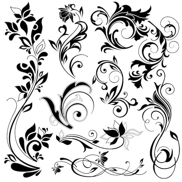 Éléments décoratifs floraux Vecteur gratuit